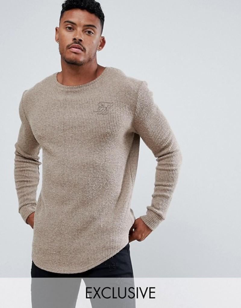 シックシルク メンズ ニット・セーター アウター SikSilk curved hem sweater in camel exclusive to ASOS Camel