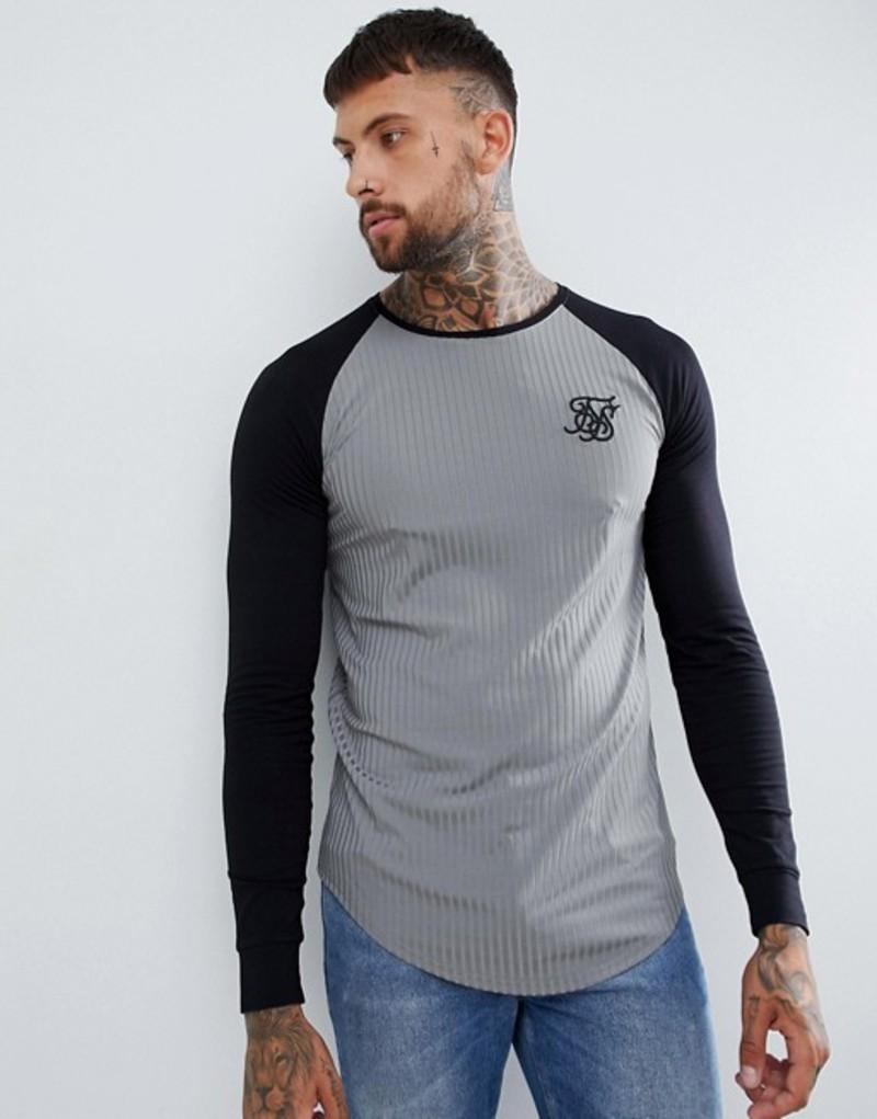 シックシルク メンズ Tシャツ トップス SikSilk raglan t-shirt in gray rib Grey
