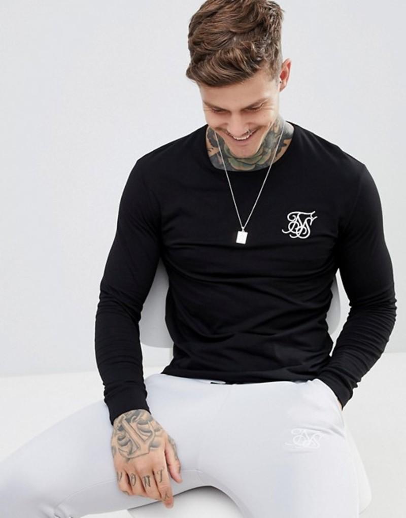 シックシルク メンズ Tシャツ トップス SikSilk long sleeve t-shirt in black Black