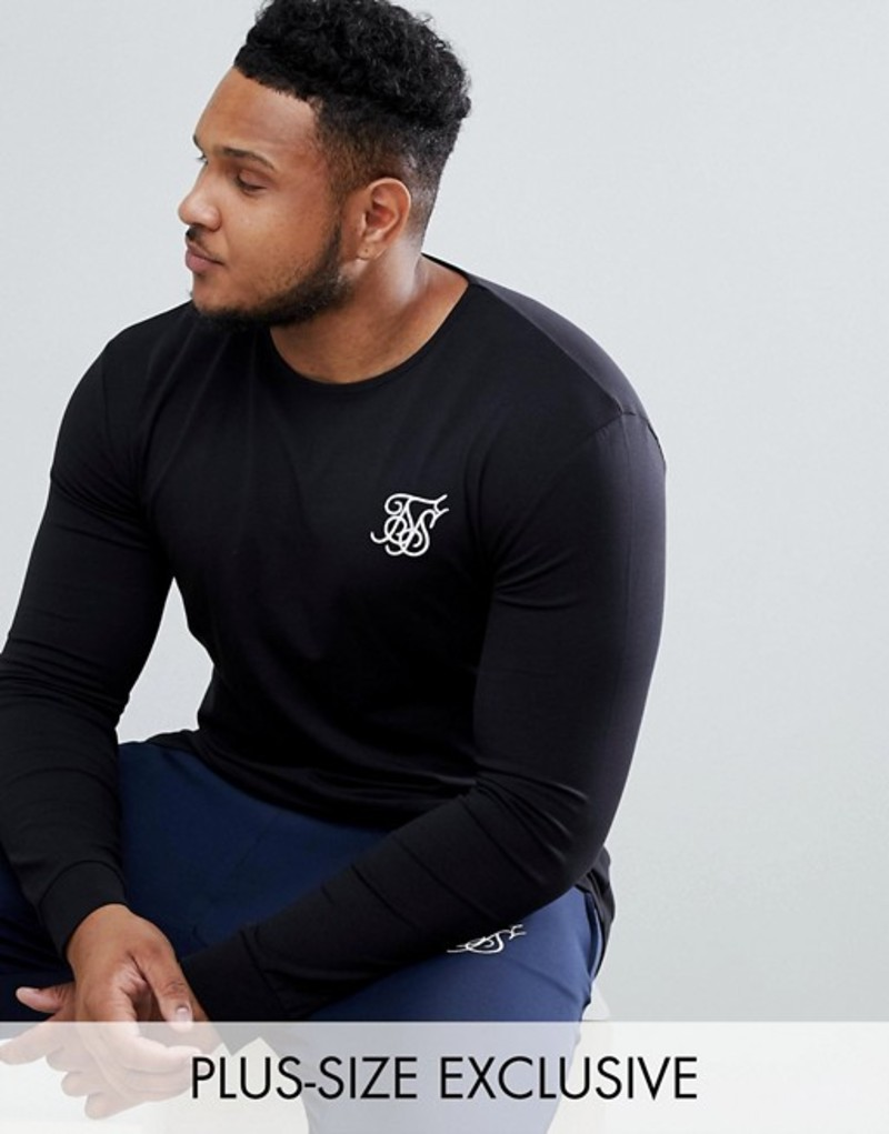 シックシルク メンズ Tシャツ トップス SikSilk long sleeve t-shirt in black exclusive to ASOS Black