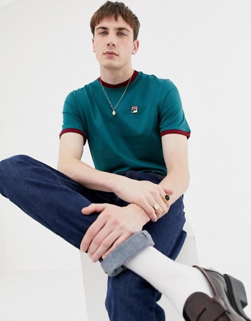 フィラ メンズ Tシャツ トップス Fila White Line Ringer T-Shirt With Small Logo In Green Green