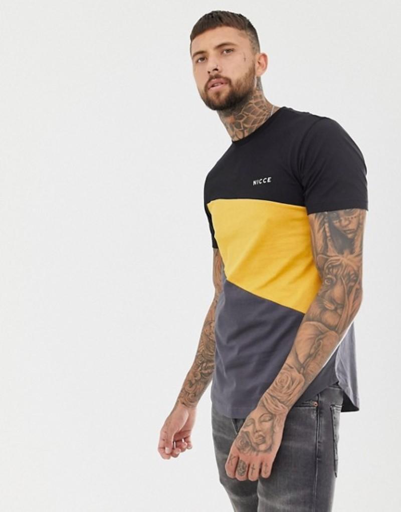ニースロンドン メンズ Tシャツ トップス Nicce t-shirt in black with color block Black