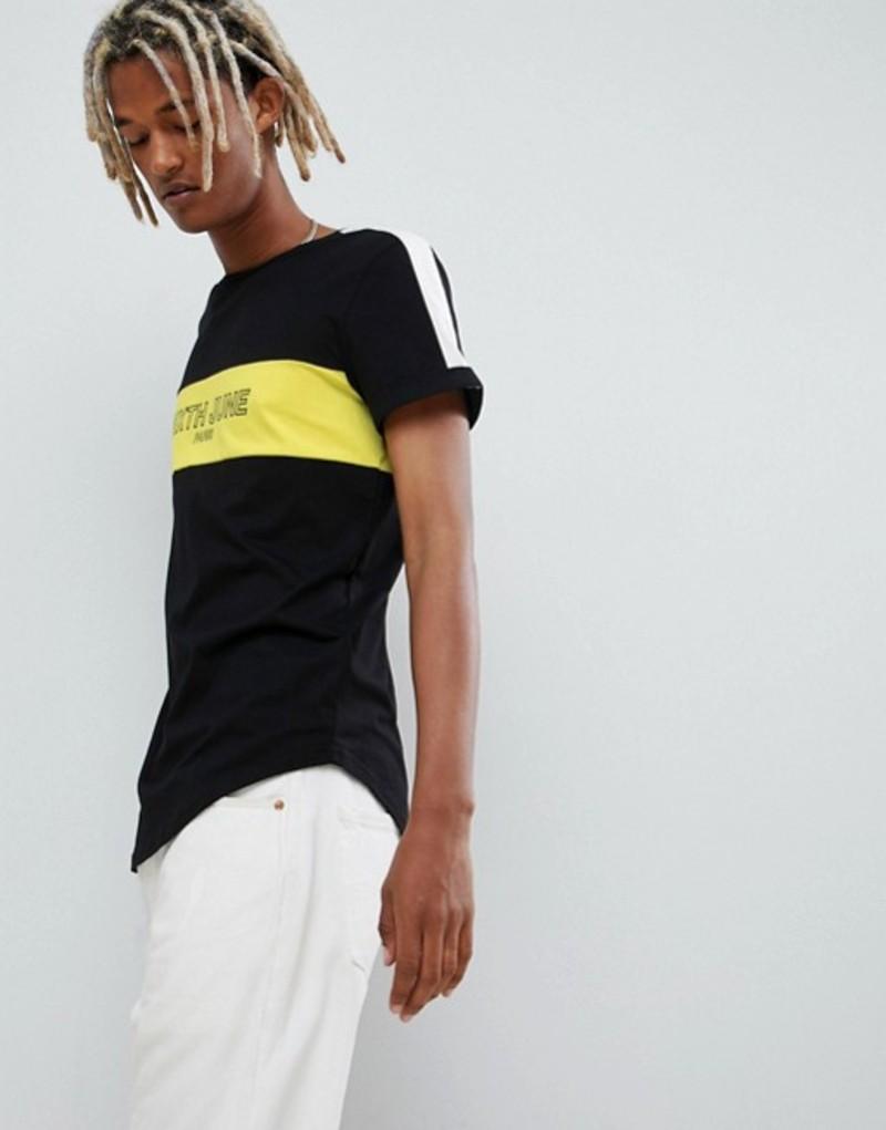 シックスジュン メンズ Tシャツ トップス Sixth June t-shirt in black with cut and sew logo Black