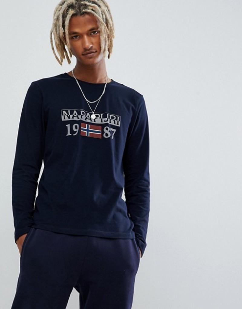 ナパピリ メンズ Tシャツ トップス Napapijri Solin logo long sleeve crew neck t-shirt in navy Navy