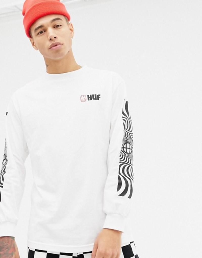 ハフ メンズ Tシャツ トップス HUF x Spitfire Long Sleeve T-Shirt With Sleeve Print In White White