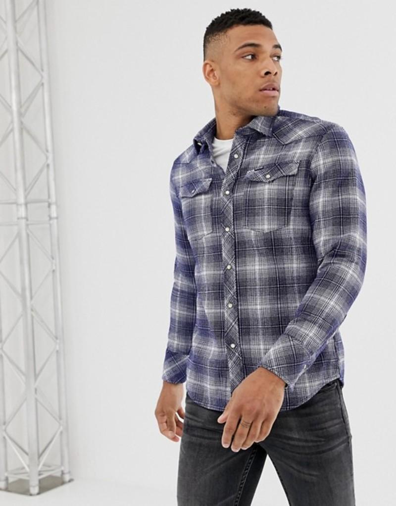 ジースター メンズ シャツ トップス G-Star washed check shirt in blue and off white Milk/imperial blue