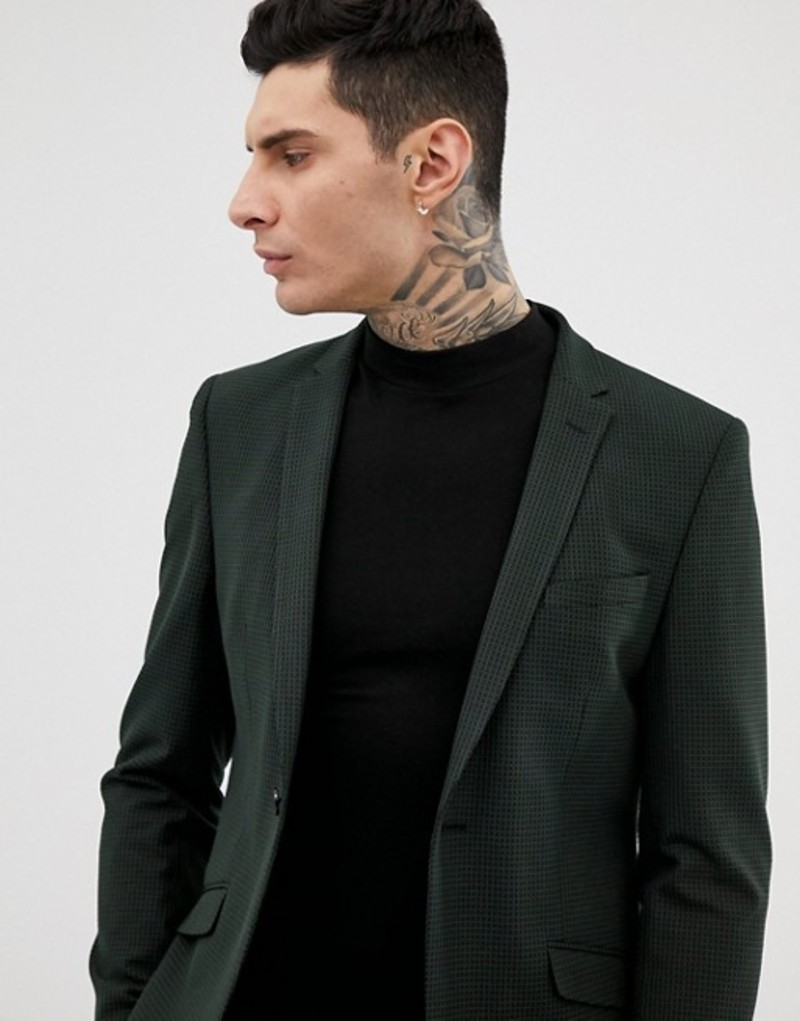 ハートアンドダガー メンズ ジャケット・ブルゾン アウター Heart & Dagger slim suit jacket in mini pattern Green