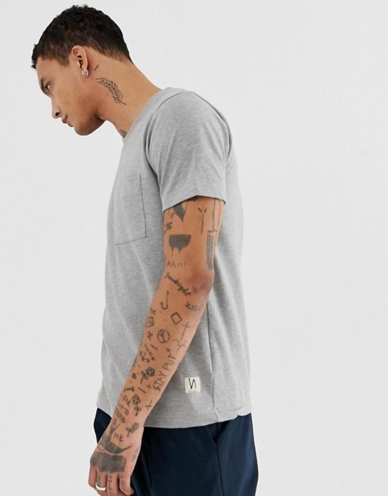ヌーディージーンズ メンズ Tシャツ トップス Nudie Jeans Co Kurt worker t-shirt in gray Grey