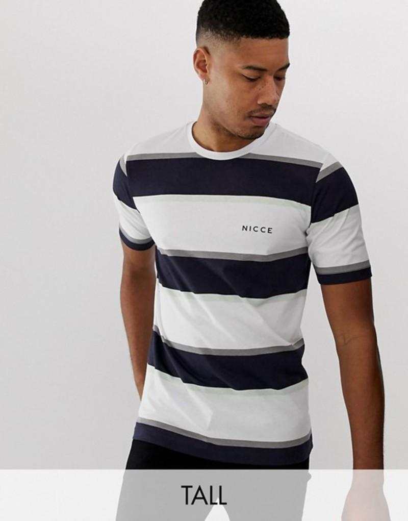 ニースロンドン メンズ Tシャツ トップス Nicce stripe t-shirt in white White
