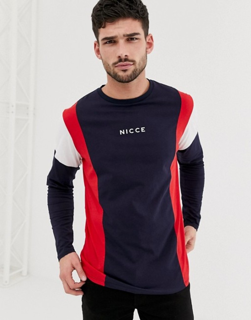 ニースロンドン メンズ Tシャツ トップス Nicce long sleeve t-shirt in navy with contrast detail Navy