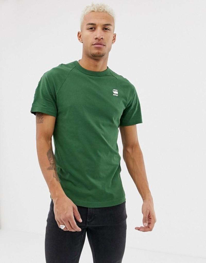 ジースター メンズ Tシャツ トップス G-star Satur raglan taped t-shirt in khaki Deep nuri green