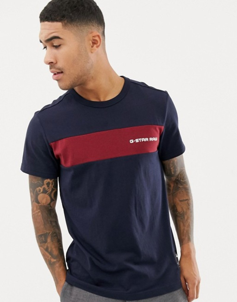 ジースター メンズ Tシャツ トップス G-star Rodis stripe panel t-shirt in blue Mazarine blue