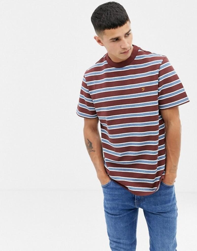 ファーラー メンズ Tシャツ トップス Farah Willem stripe t-shirt in rust Red