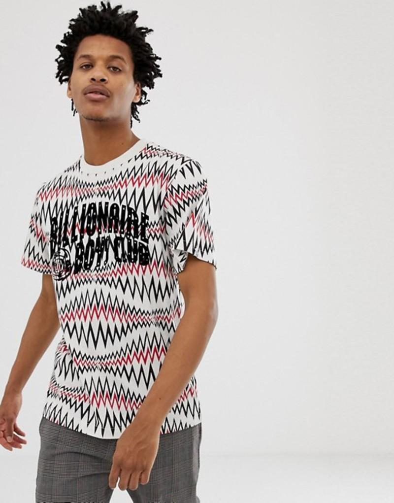 ビリオネアボーイズクラブ メンズ Tシャツ トップス Billionaire Boys Club soundwave arch logo t-shirt in white marl White