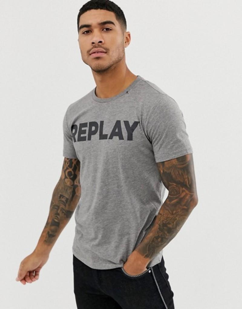 リプレイ メンズ Tシャツ トップス Replay bold logo crew neck t-shirt in gray Grey