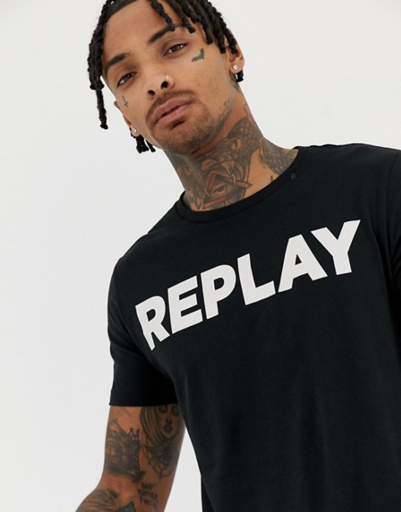 リプレイ メンズ Tシャツ トップス Replay bold logo crew neck t-shirt in black Black