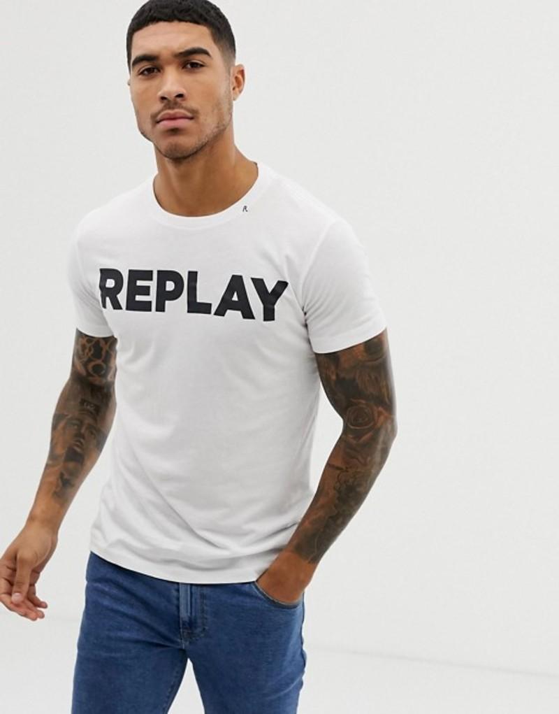 リプレイ メンズ Tシャツ トップス Replay bold logo crew neck t-shirt in white White