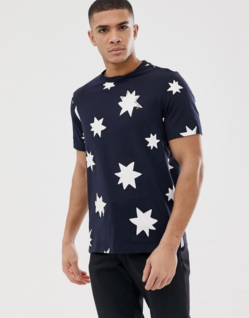 ファーラー メンズ Tシャツ トップス Farah Blackburn star print t-shirt in navy Navy