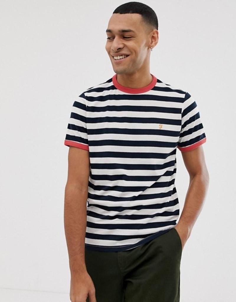 ファーラー メンズ Tシャツ トップス Farah Belgrove stripe t-shirt in navy Navy