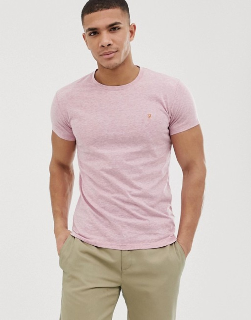 ファーラー メンズ Tシャツ トップス Farah Gloor slim fit marl t-shirt in pink Exclusive at ASOS Pink
