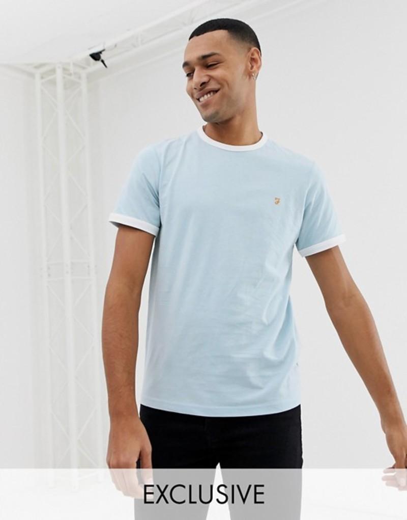 ファーラー メンズ Tシャツ トップス Farah Groves slim fit ringer t-shirt in blue Exclusive at ASOS Blue