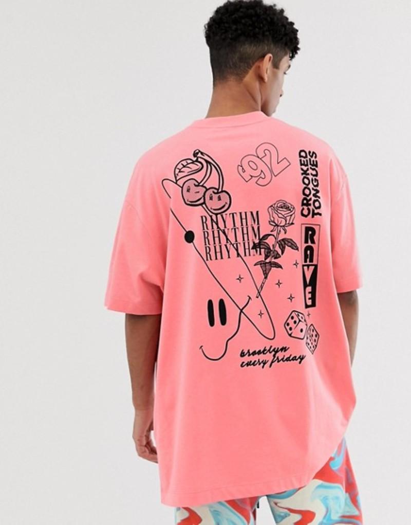 クルックドタン メンズ Tシャツ トップス Crooked Tongues oversized t-shirt in rhythm and sketch mixed print Red