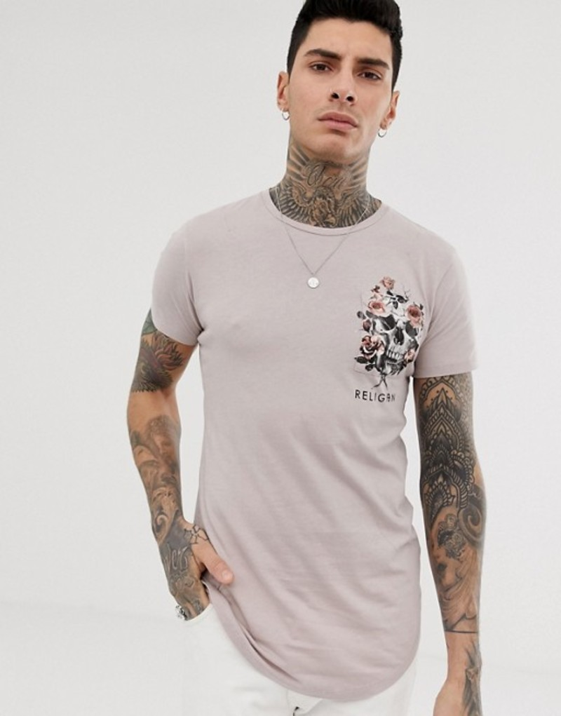 レリジョン メンズ Tシャツ トップス Religion t-shirt with skull floral pocket print Pink