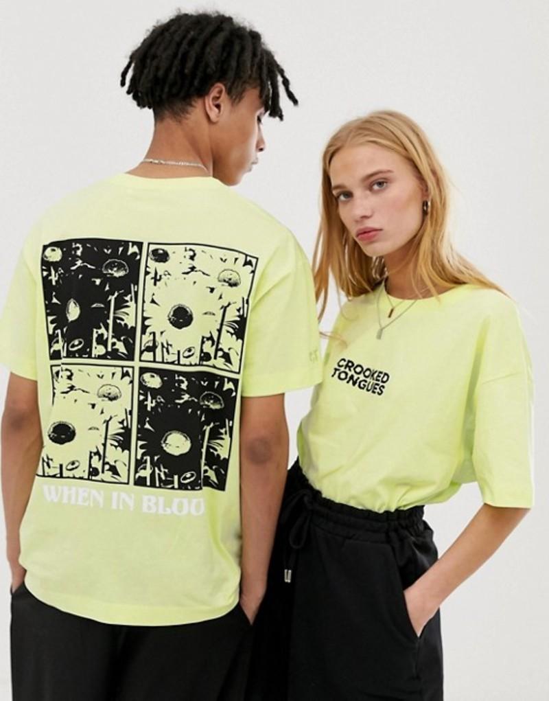 クルックドタン メンズ Tシャツ トップス Crooked Tongues unisex oversized t-shirt in fluorescent with back grid print Yellow
