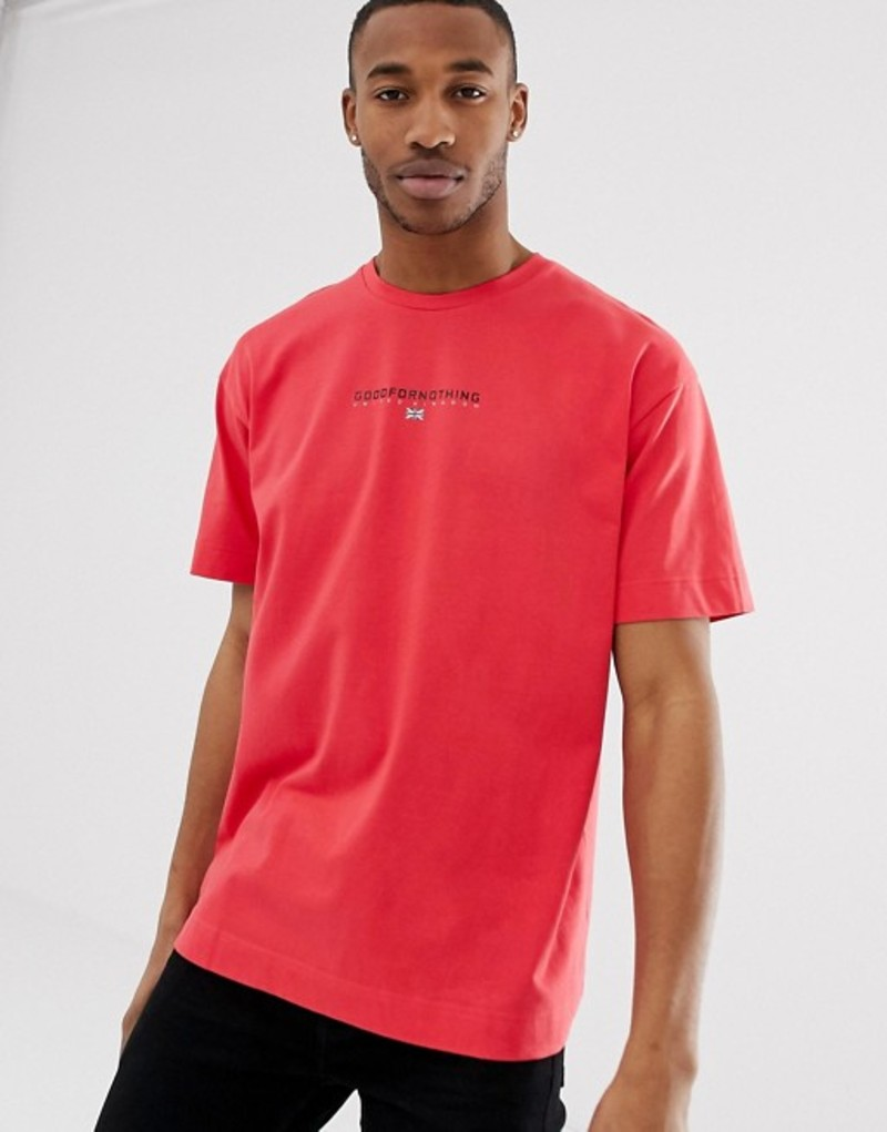 グッドフォーナッシング メンズ Tシャツ トップス Good For Nothing oversized t-shirt in red with chest logo Red
