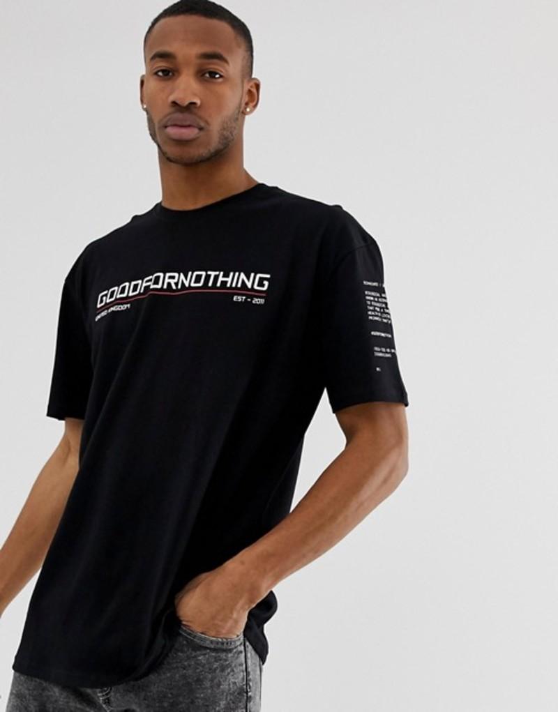 グッドフォーナッシング メンズ Tシャツ トップス Good For Nothing oversized t-shirt in black with chest logo Black