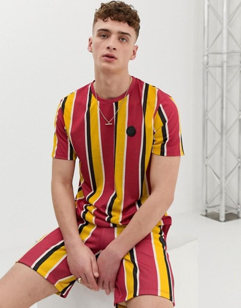 クリミナルダメージ メンズ Tシャツ トップス Criminal Damage two-piece t-shirt in red with stripes Red