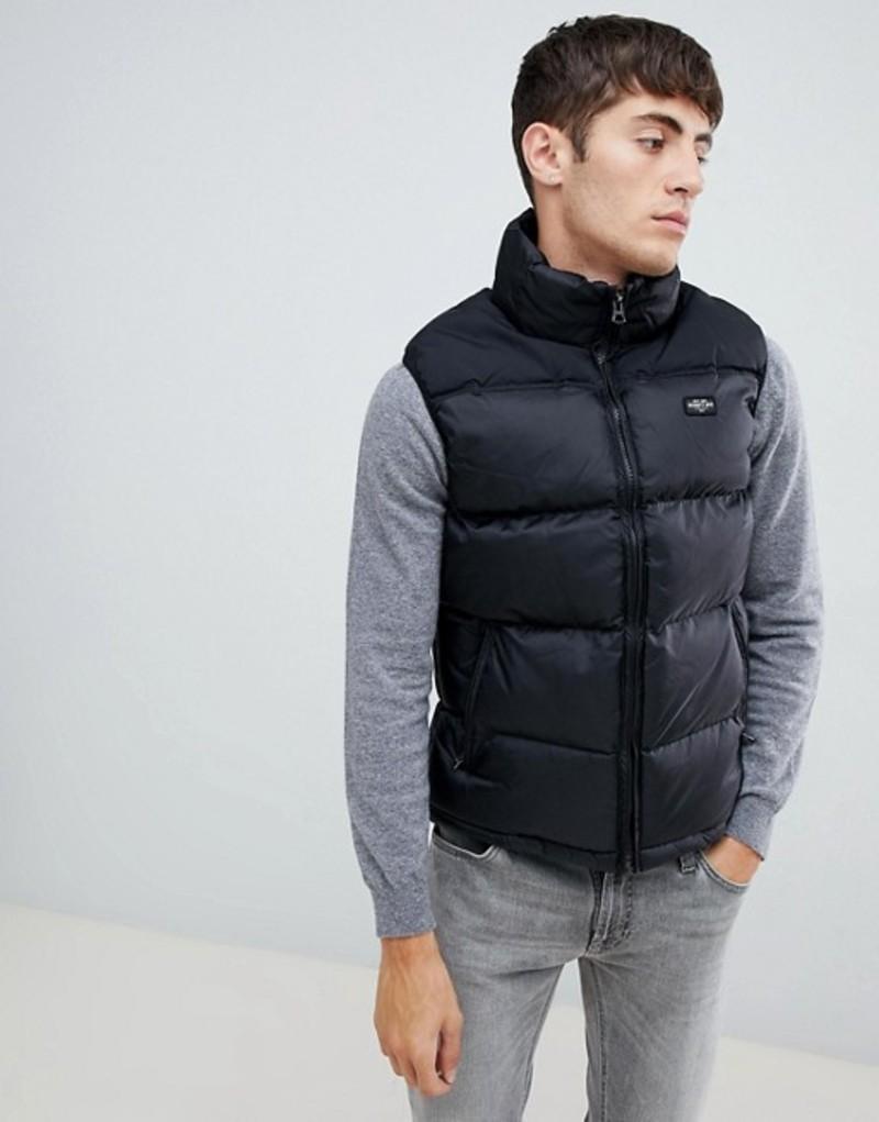 スコット メンズ タンクトップ トップス Schott nylon puffer vest in black Black/black