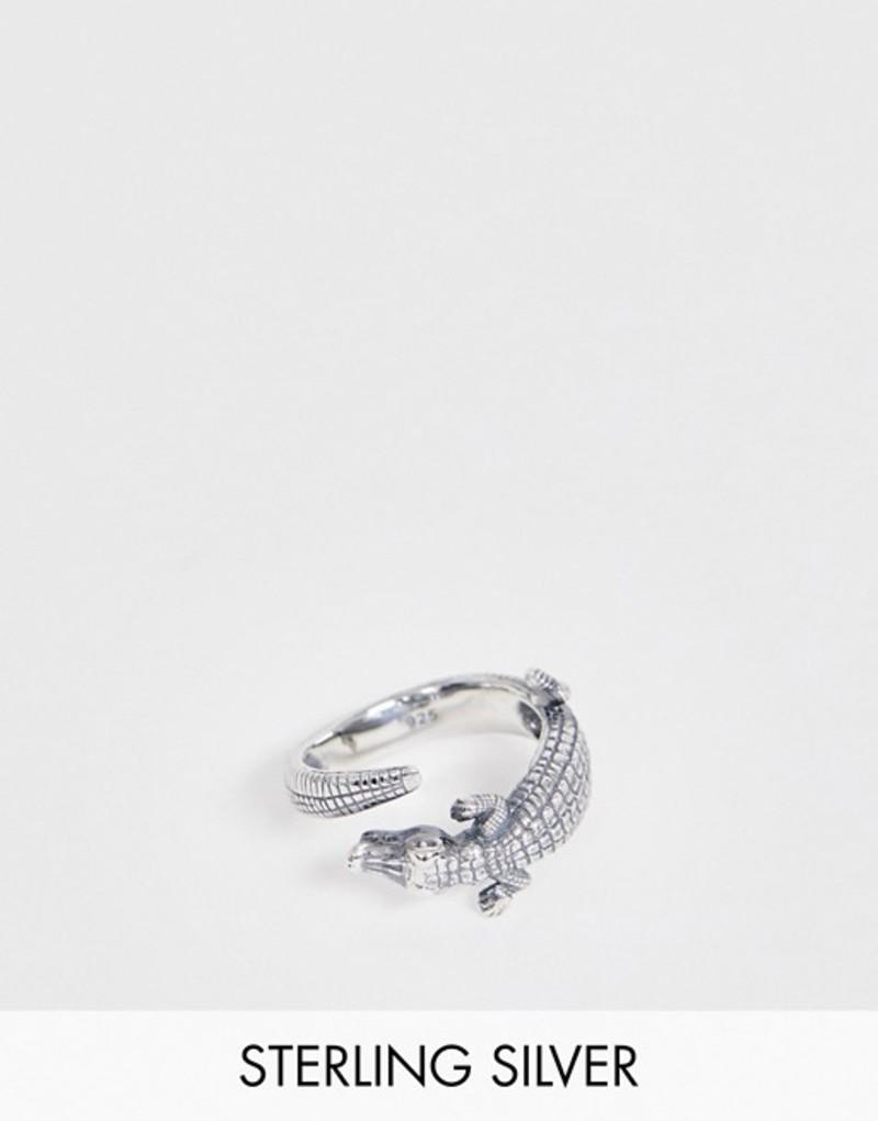 エイソス メンズ 指輪 アクセサリー ASOS DESIGN sterling silver ring with crocodile design Silver