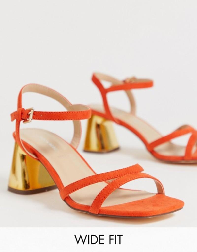 ロンドンレベル レディース サンダル シューズ London Rebel wide fit kitten heel stud sandals Orange