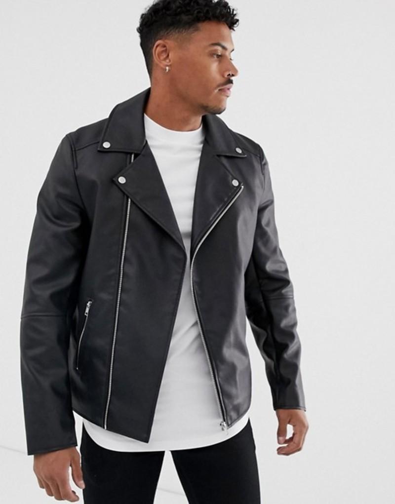 エイソス メンズ ジャケット・ブルゾン アウター ASOS DESIGN faux leather biker jacket in black Black