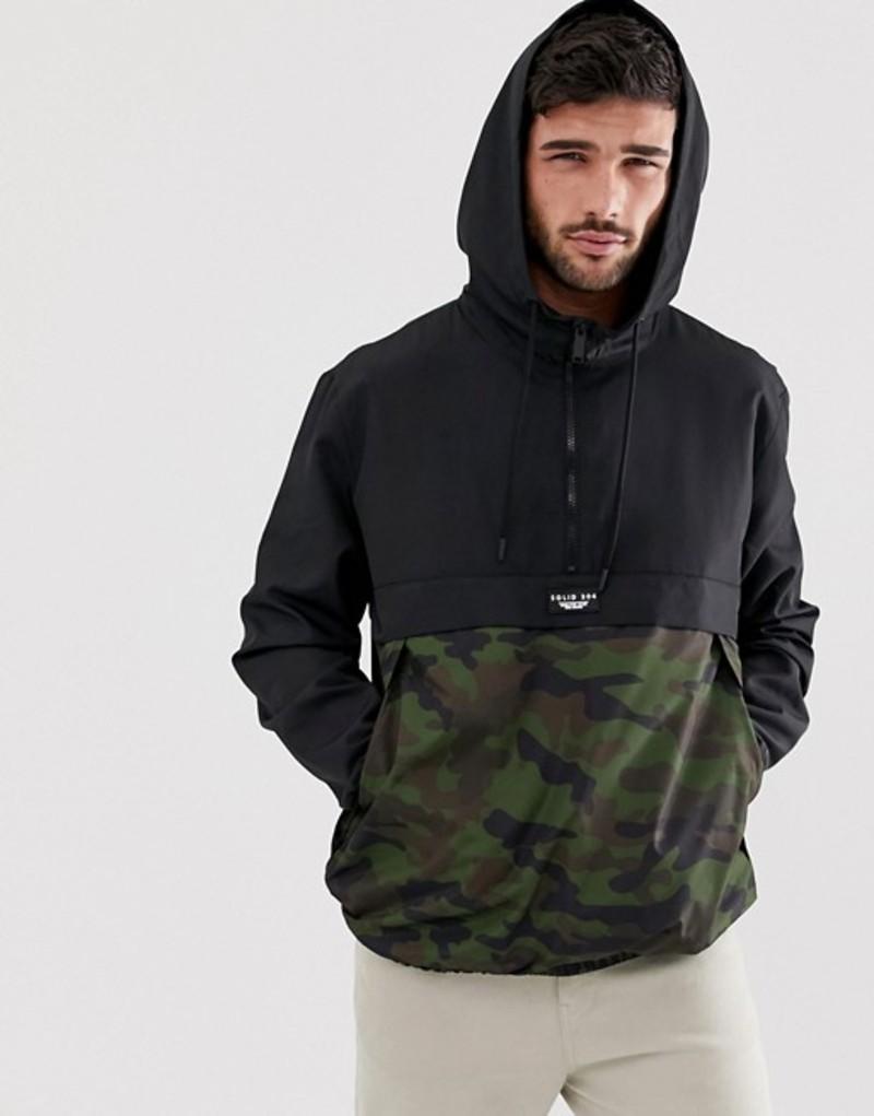 ベルシュカ メンズ ジャケット・ブルゾン アウター Bershka overhead windbreaker jacket with camo print in black Black