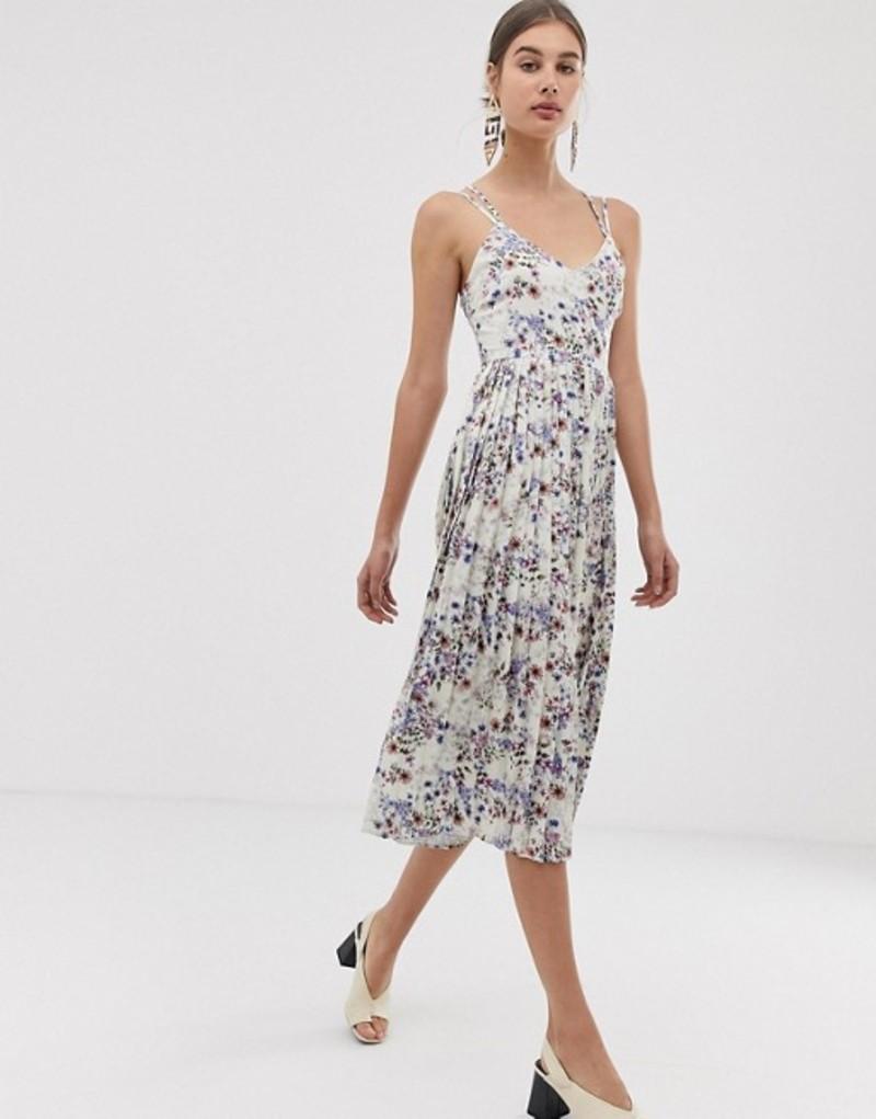 ユニークトゥエンティワン レディース ワンピース トップス Unique21 floral strappy pleated midi dress White