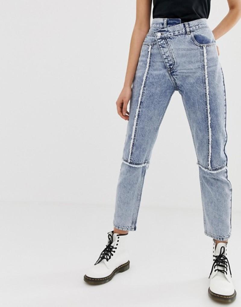 リクレイム ヴィンテージ レディース デニムパンツ ボトムス Reclaimed Vintage The 89' slim leg jean with reworked and distressed seams Acid wash