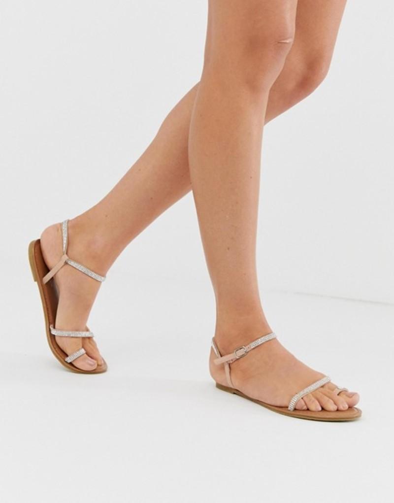 ニュールック レディース サンダル シューズ New Look asymmetric rhinestone sandal in nude Oatmeal
