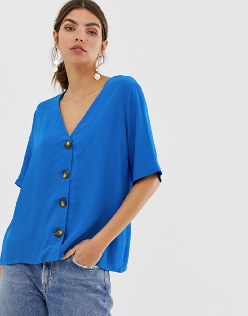 ワイエーエス レディース シャツ トップス Y.A.S button down oversized blouse Blue
