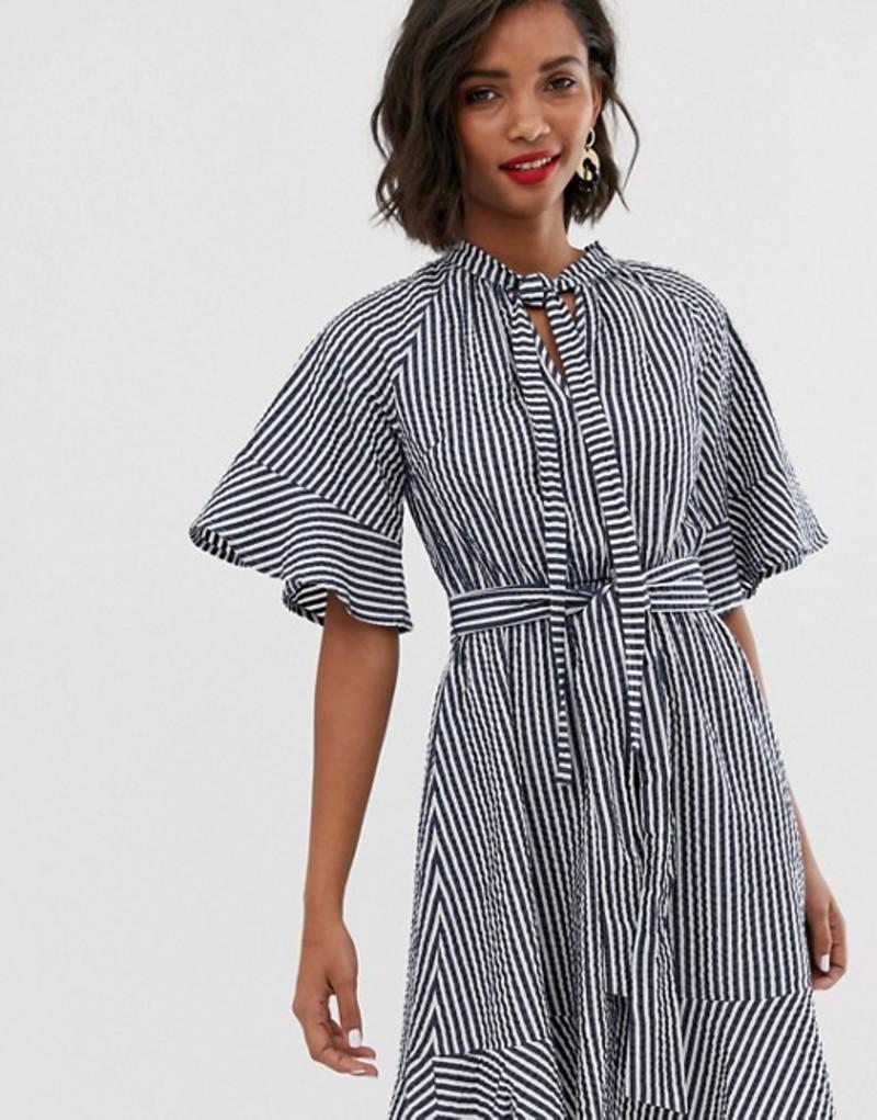 ワイエーエス レディース ワンピース トップス Y.A.S tie neck stripe mini dress Multi