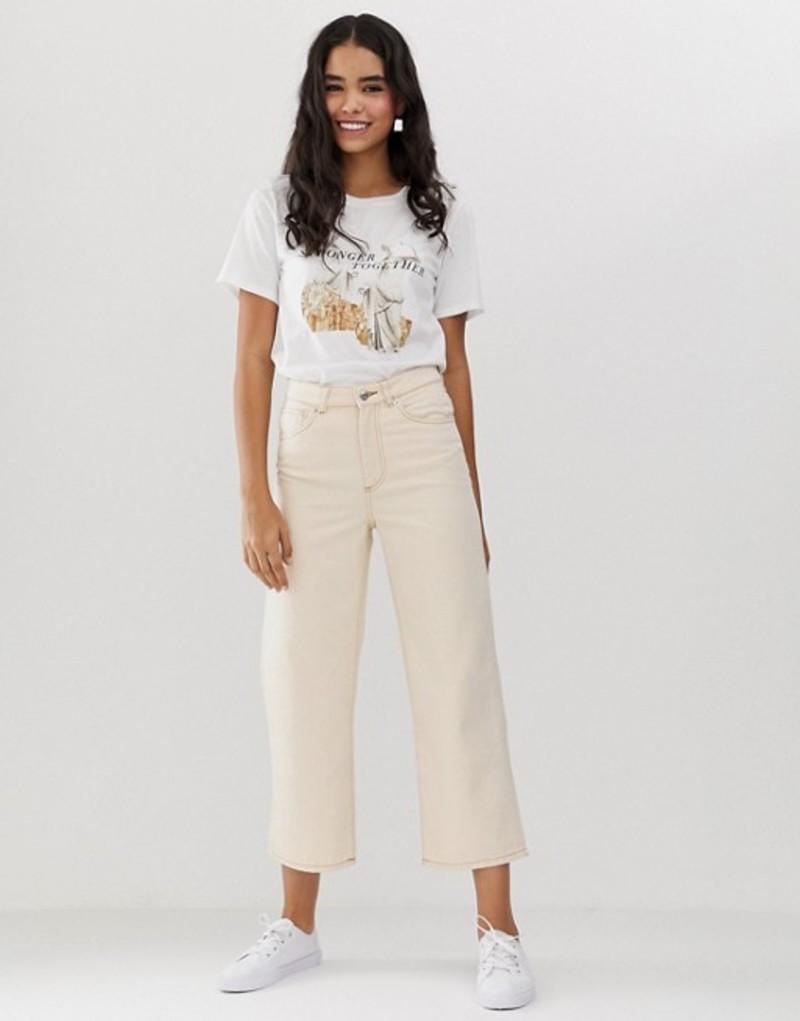 モンキ レディース デニムパンツ ボトムス Monki organic cotton straight leg cropped jeans in off white Off white