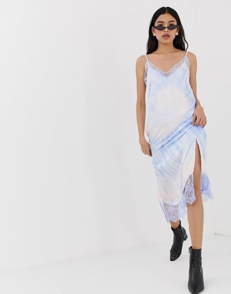 ストラディバリウス レディース ワンピース トップス Stradivarius tie dye slip cami dress in blue Blue