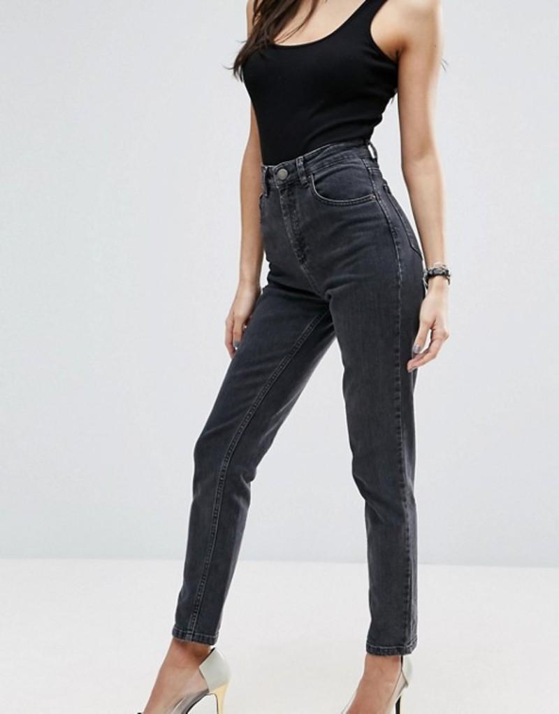 エイソス レディース デニムパンツ ボトムス ASOS FARLEIGH High Waist Slim Mom Jeans In Washed Black Washed black