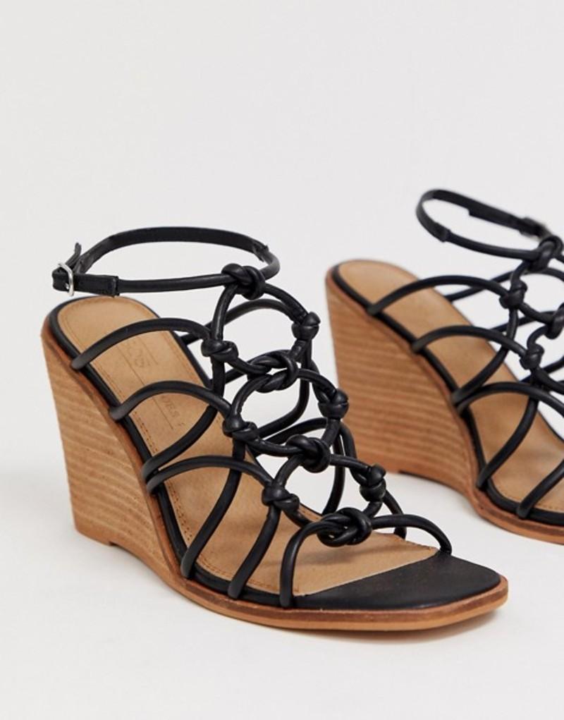 エイソス レディース サンダル シューズ ASOS DESIGN Zoe wedge sandals Black