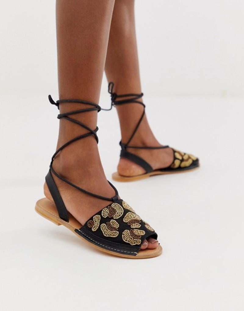 エイソス レディース サンダル シューズ ASOS DESIGN Fondi beaded leopard flat sandals Black