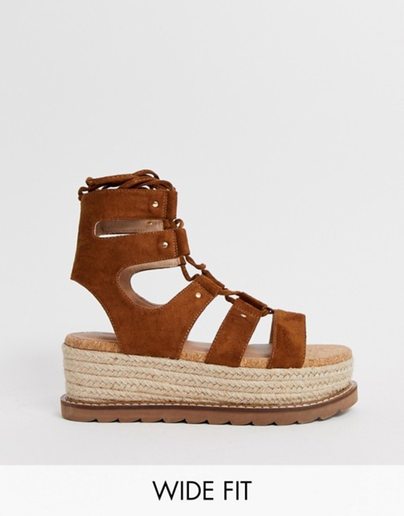 エイソス レディース サンダル シューズ ASOS DESIGN Wide Fit Jive flatform espadrilles Tan