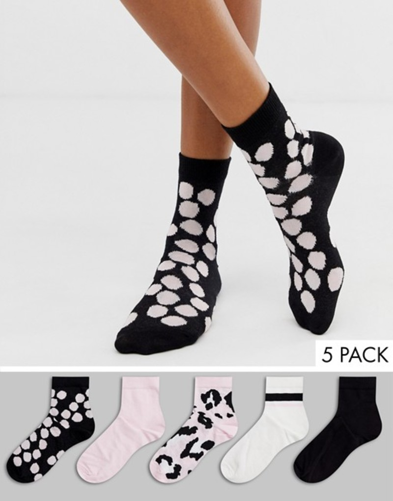 40f9f0ef0a43 送料無料 サイズ交換無料 エイソス レディース アンダーウェア 靴下 Pink/black/white エイソス