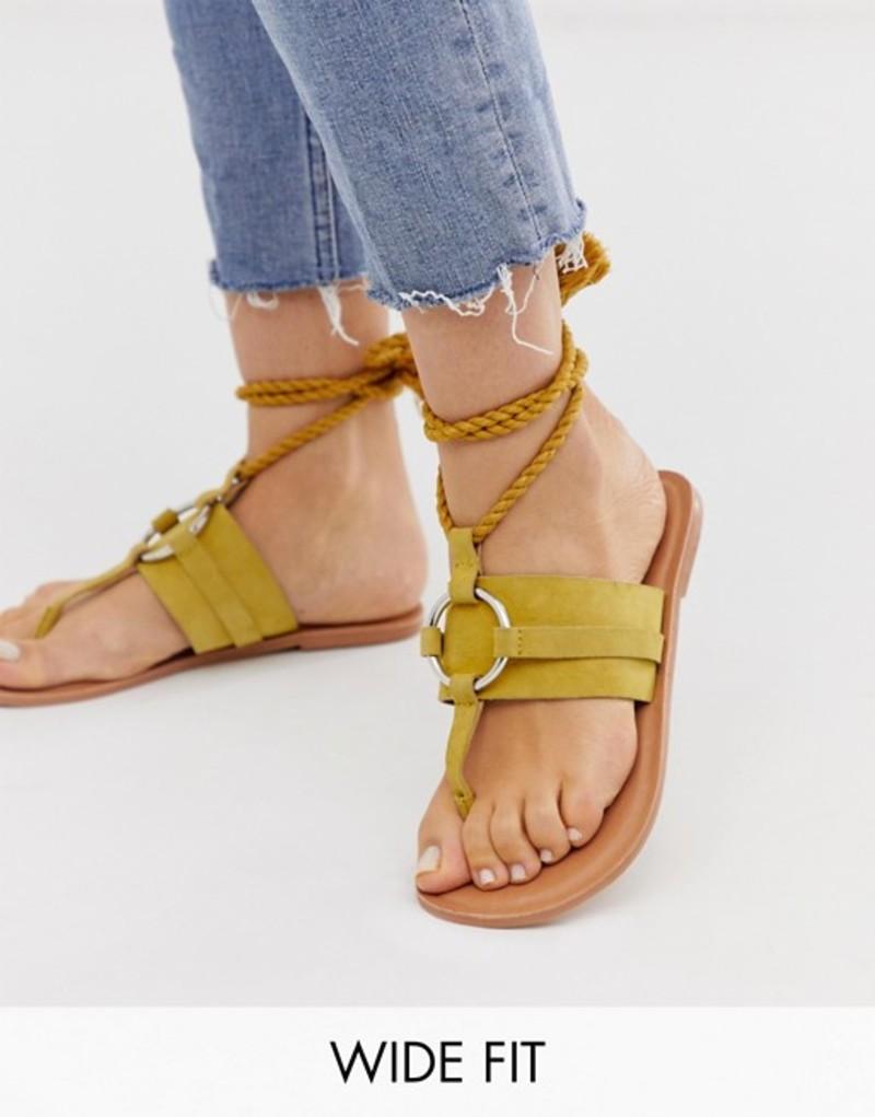 エイソス レディース サンダル シューズ ASOS DESIGN Wide Fit Vantage leather ring detail tie leg flat sandals in mustard Mustard