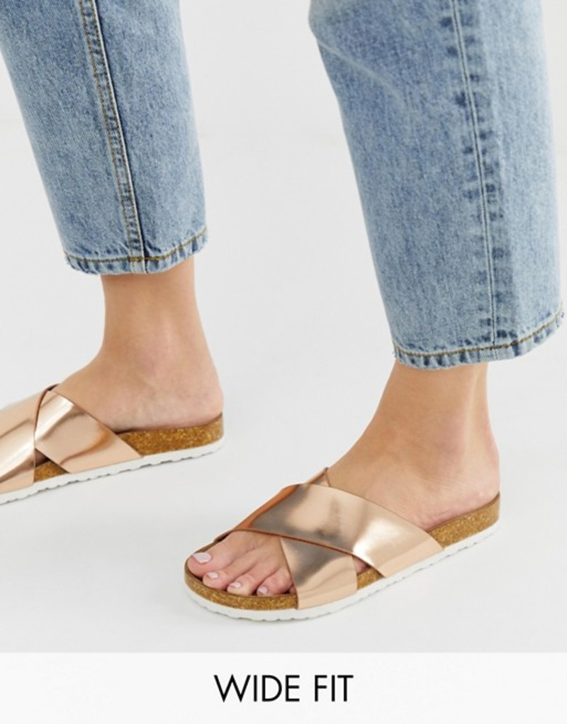エイソス レディース サンダル シューズ ASOS DESIGN Wide Fit Flare cross strap sliders Rose gold